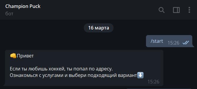 Телеграмм бот Champion Puck